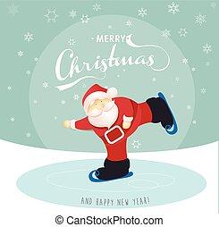 patinage, santa, salutation, glace, lake., joyeux, année, nouveau, noël carte, heureux