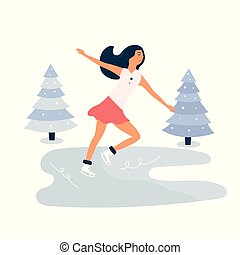patinage, scène hiver, glace, jeune, patinoire, girl