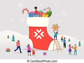 patinage, scène, neige, femmes, hiver, chaussette, jeune, glace, noël, snowboarding, familles, grand, hommes, petit, boîtes, joyeux, ski, cadeau, sledding, gens, rouges, amusement, avoir