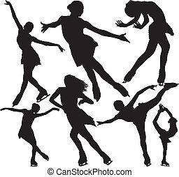 patinage, silhouettes, vecteur, figure