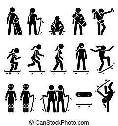 patinage, skateboard, icons., crosse, patineur, figure femelle