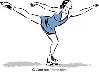patinage sur glace, d, illustration