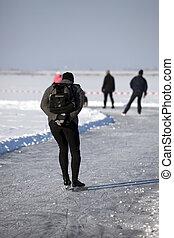patinage,  teh, dehors, hiver