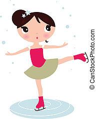 patinaje, aislado, hielo, navidad, niña, blanco