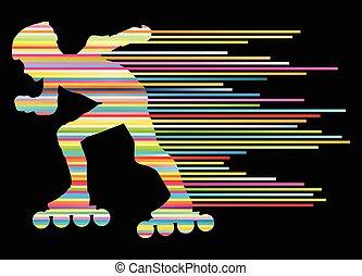 patinaje, concepto, ganador, siluetas, vector, plano de ...