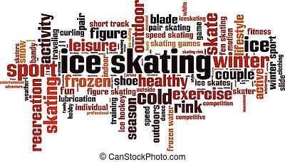 patinaje, concepto, palabra, hielo, nube