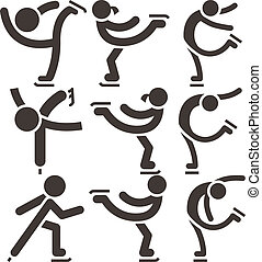 patinaje, conjunto, figura, iconos
