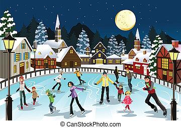 patinaje, hielo, gente
