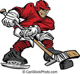 patinaje, jugador, hockey, vecto, caricatura