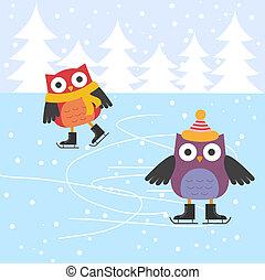 patinaje, lindo, hielo, búhos