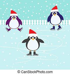 patinaje, lindo, pingüinos, hielo
