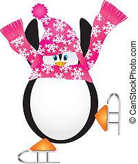 patinaje, pirueta, ilustración, pingüino