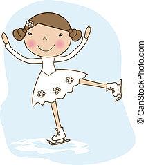 patinaje, poco, patinador, niña, hielo