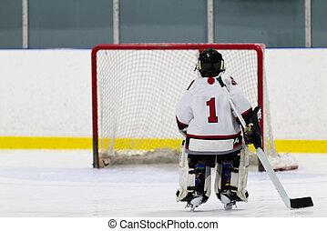 patinaje, red, hockey, portero