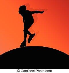 patinaje, rodillo, concepto, plano de fondo, vector