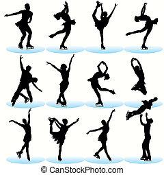 patinaje, siluetas, conjunto, figura