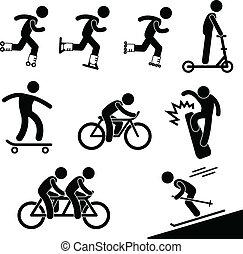 patinaje, y, equitación, actividad