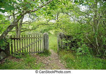 patinated, antigas, madeira, portão