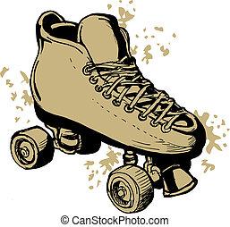 patines, rodillo, aislado, blanco, fondo.