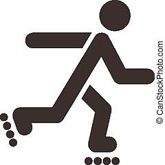 patines, rodillo, icono