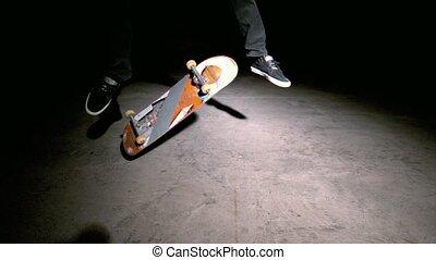 patineur, kickflip, double, tour