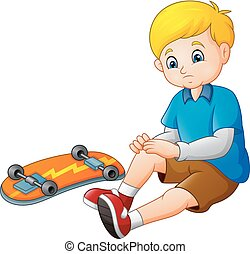 patineur, triste, skateboard, sien, dessin animé, tomber