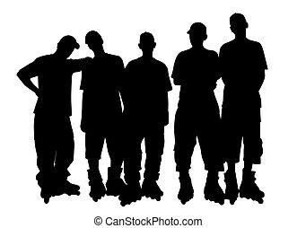 patins, grupo, jovem, rolo, pessoas