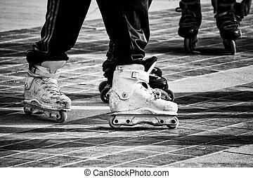 patins, haut, noir, inline, action, fin, blanc, vue