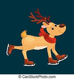 patins, hiver, dépenser, temps, cornes, cerf, veille, glace, vacances, heureusement, renne, vecteur, illustration, animal, année, amusement, nouveau, noël, écharpe