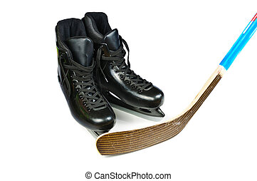 patins, hockey bâton