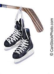 patins, isolé, crosse, hockey