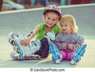 patins, peu, rouleau, soeurs, deux