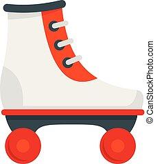 patins, rolo, branco vermelho, estilo, ícone, apartamento