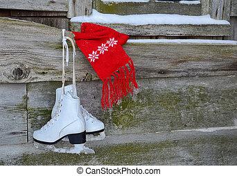 patins, scarf vermelho, gelo