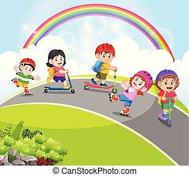 patins, tocando, rolo, estrada, scooter, crianças
