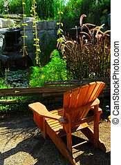 Patio and pond landscaping - Natural stone pond and patio...