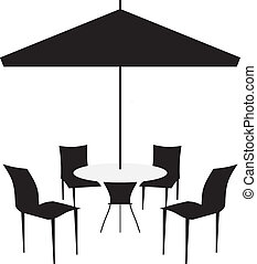 Patio chairs and canopy