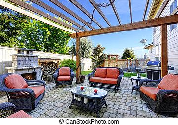 patio, cheminée, jardin, secteur, maison