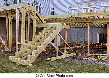 patio, construction., installare, ponte, assi, ponte, sopra, suolo