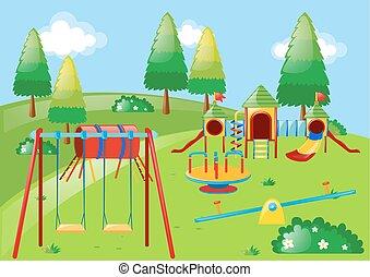 patio de recreo, con, lotes, de, estaciones, en el parque
