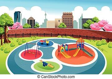 patio de recreo, en la ciudad, plano de fondo