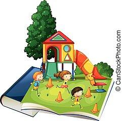 patio de recreo, gigante, libro, juego, niños