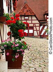 patio, decoración, con, flowers., kaiserburg, un, parte de, emperador