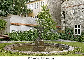 patio, fuente