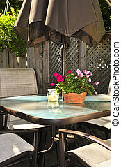 Patio furniture on a deck