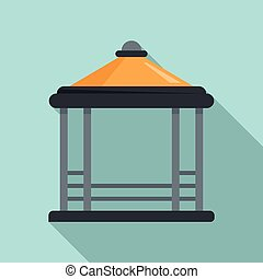 Patio gazebo icon, flat style - Patio gazebo icon. Flat ...