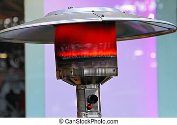 Patio heater - Outdoor gas heater patio lamp burning red