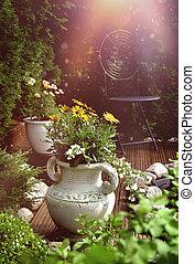patio, jardín, luz del sol, terraza
