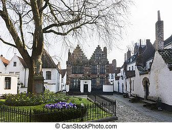 patio, kortrijk, belgium., beguinage