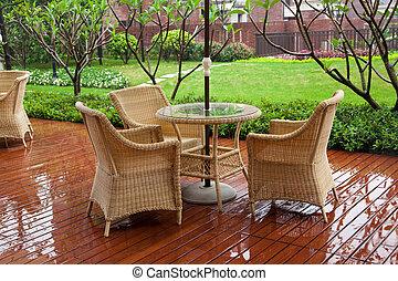 patio, mesa de mimbre, sillas